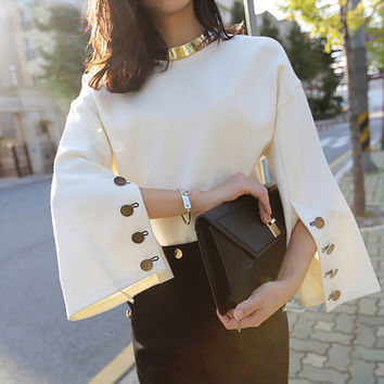 Button Bell Sleeve Blouse