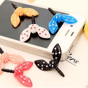 Rabbit Ears Butterfly Knot Cute Dust Plug 3.5mm Headphones Gadgets Universal Mobile Phone Accessory Telephone plug For Iphone