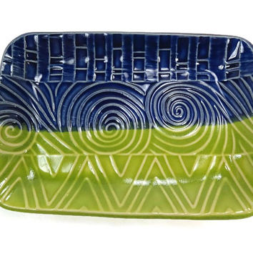 Blue Green Dish, Blue Kitchen Decor, Candy Dish, Trinket Dish, Boho Decor, Green Blue Plate, Bohemian Decor, Geometric Dish, Blue Pottery