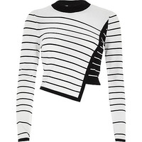 White asymmetric stripe panel knit jumper - Knitwear - Sale - women