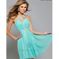 Preorder - Faviana 7669 Spearmint Chiffon Ruched Bodice Open Back Dress 2015 Homecoming Dresses