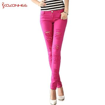 Color Stretching Ripped Jeans Women Washed Distressed With Torn Jeans Elasticity Skinny jeans For Girls Pencil Pants