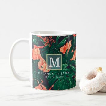 Elegant Tropical Floral Modern Gold Frame Monogram Coffee Mug