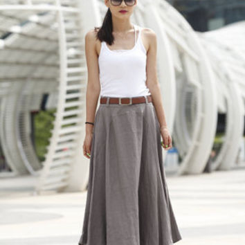Romantic Maxi Skirt Long Linen Skirt in Grey - NC456