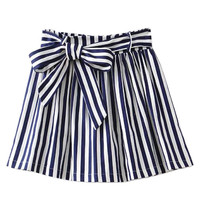Blue Stripe Bowknow Mini Skirt