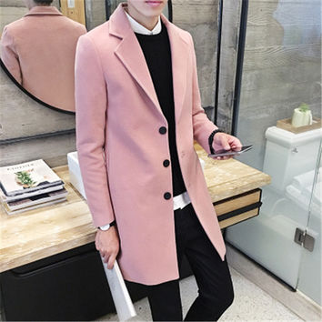 Men's 2016 new winter coat Korean Slim tide men's long coat male British style woolen coat male tide leisure big yards 8 colors