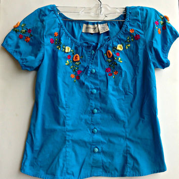 Vintage Mexican Style Floral Shirts Button Down Top Boho Indie Hipster