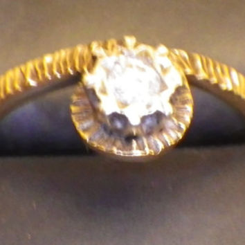 Unusual 9ct Yellow Gold Diamond Solitaire Ring