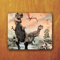 Dinosaur Painting Mouse Pad Dangerous Big Strong Animal Fighting Office Deco Desk Word Pad Personalized Pad Gift Personalized mat