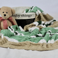 Green and Tan Baby Blanket - Crochet Shell Pattern Baby Afghan - Tan, Dark Green, Sage Green, and White - Crib Blanket - Baby Throw