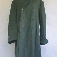 Vintage Swiss Army Military Mossy Gray Green Wool Winter Trench Over Coat L/XL
