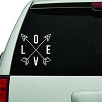 Dabbledown Decals Love with Arrows White Version Car Window Windshield Lettering Decal Sticker Decals Stickers