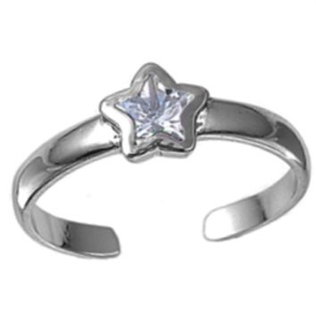 .925 Sterling Silver Clear Star Adjustable Ring for Ladies and Kids CZ Midi or Toe