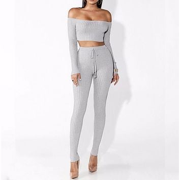 Autumn and winter women's new word shoulder pit long-sleeved trousers two-piece Gray