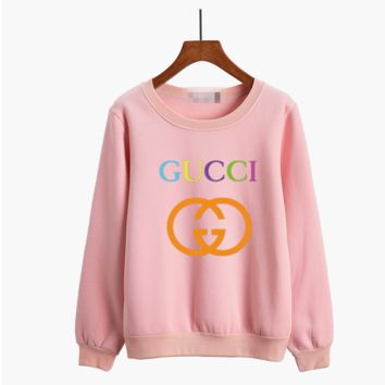 """Gucci"" Women Casual Multicolor Logo Letter Print Thickened Long Sleeve Sweater Tops"