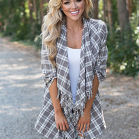 Hipster Plaid Cardigan Mocha