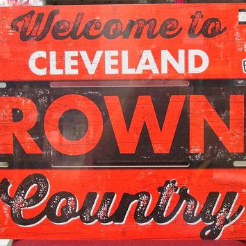 "CLEVELAND BROWNS WELCOME TO BROWNS COUNTRY WOOD SIGN 19""X30'' NEW WINCRAFT"