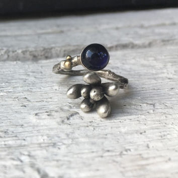 Cactus ring -Silver botanical ring-Gemstone iolite ring-Succulent jewelry-Birthstone jewelry-Gift for her-Statement ring
