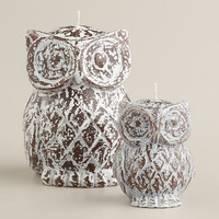 RUSTIC WOOD FINISH OWL CANDLE