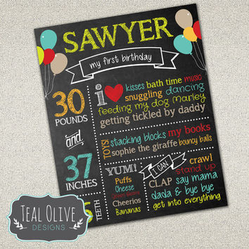 Custom Chalkboard Printable Birthday Sign - Boy First Birthday Poster - Birthday Sign - Digital Print | 16x20