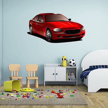 kcik23 Full Color Wall decal red car transport children's room