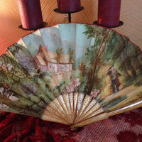 Victorian Fabric Fan with Countryside Scene