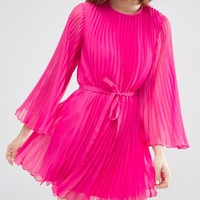 ASOS Pleated Flutter Sleeve Mini Dress