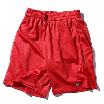 Champion Trending Women Men Stylish Embroider Sports Running Beach Shorts Red I12684-1