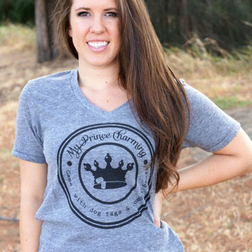 My Prince Charming Vneck Tee - at ease designs usmc navy army usaf uscg clothing
