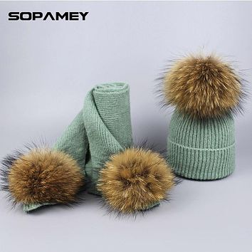 Winter Women Fashionable Knitted Top Hats and Scarves With Natural Raccoon Fur Pompons Children's Winter Hat for New Year Gifts