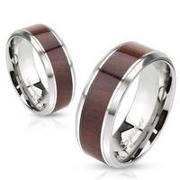 8mm Darker Wood Pattern Center Stainless Steel Beveled Edge Men's Band Ring