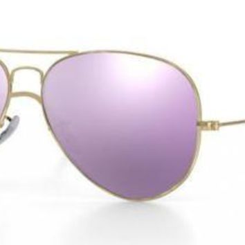 RAY BAN 3025 58 AVIATOR POLISHED GOLD PERSONALIZZATO REMIX CYCLAMEN MIRROR