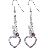 Officially Licensed PLAYBOY Rabbit Head Pink Gem HOLLOW HEART Dangle Earrings