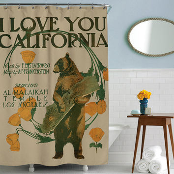 I love you California Shower Curtain Printed in USA