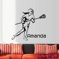 Wall Decal Lacrosse Helmet Personalized Custom Name Sport Player Kids Children Room Teens Kids Boys Girls Sticker Decor Art Gift Bedroom M1630