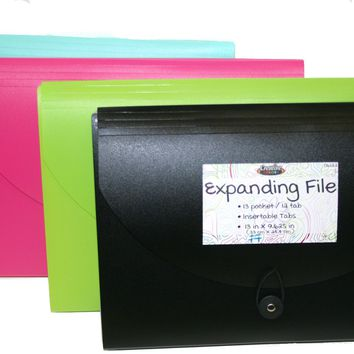 13 Pocket Expanding File - Assorted Colors - CASE OF 24