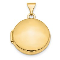 14K Yellow Gold Polished Domed 16mm Round Locket