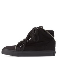 Black Zipper-Trim Canvas High-Top Sneakers by Charlotte Russe