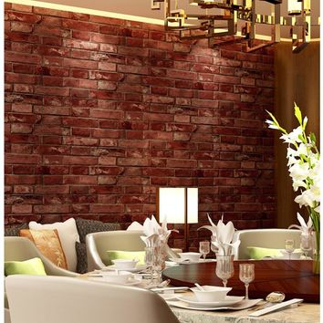 Rustic Vintage 3D Faux Brick Wallpaper Roll Vinyl Old Stone Wall Paper For Restaurant Cafe Decor Colors Yellow Red Black Grey