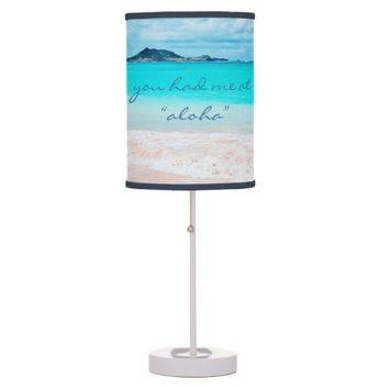 """Aloha"" quote turquoise beach photo table lamp"