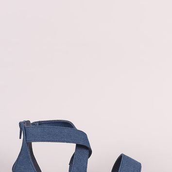 Denim Cross-Strap Open Toe Flat Sandal