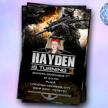 Black Ops Photo COD Design For Birthday Invitation on SaphireInvitations