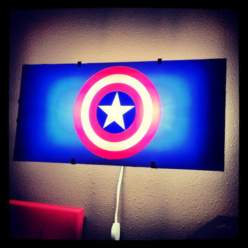 Captain America, Avengers, night light, Batman, wall decal, boys room decor, superhero decal, wall art, by Otrengraving on Etsy
