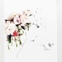 Uno The Horse Print by Anthropologie Green One Size Decor