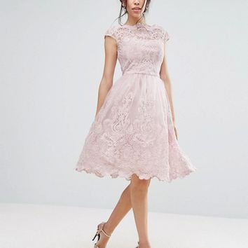 Chi Chi London Premium Lace Midi Prom Dress with Bardot Neck at asos.com