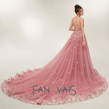 Lace Wedding Dresses Court Train Backless Robe Bridal Gowns Pink Wedding Dress