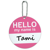 Tami Hello My Name Is Round ID Card Luggage Tag