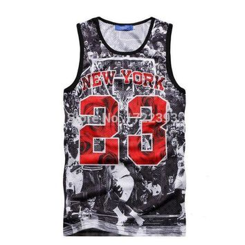 CREYNW6 New Summer vest top ball game Jordan 23 Print men jersey brand fitness fashion men 3d tank tops Free Shipping
