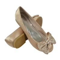 Girls Dressy Satin Slip-on Flat Casual Comfort Rhinestone Embellished Bow Champagne