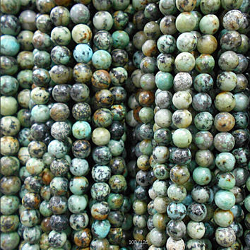 "Free Shipping Natural Stone African Turquoise Round Loose Beads 15"" Strand 4 6 8 10 12MM Pick Size For Jewelry Making"